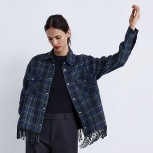 Zara Women CHECK BUTTON DOWN SHIRT W/ FRINGE XS BN